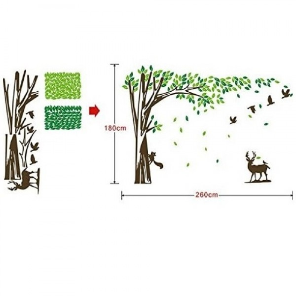 Large Blowing Leaves Tree Wall Decal With Squirrel Deer And Flying Birds Wall Mural Sticker For Living Room Bedroom Nursery Art Decor