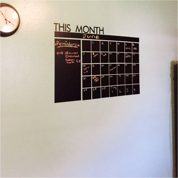 Large Chalkboard Monthly Calendar Wall Decal