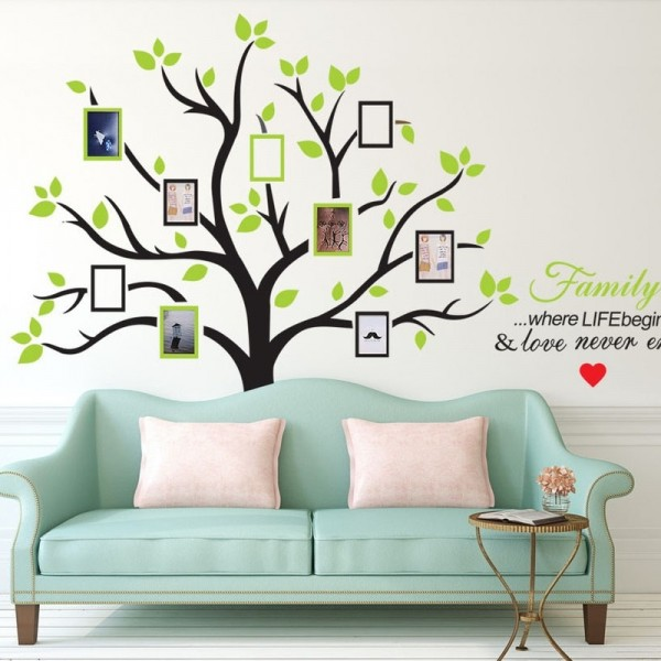 Large Family Photo Picture Frame Tree Wall Decal With Quote Vinyl Wall Art Sticker DIY Wall Decor For Living Room Bedroom