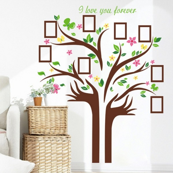 Large Family Tree Vinyl Wall Decal DIY Wall Art Hand Shape Tree Branches Leaves Photo Picture Frame Wall Sticker Home Living Room Bedroom Mural Decor
