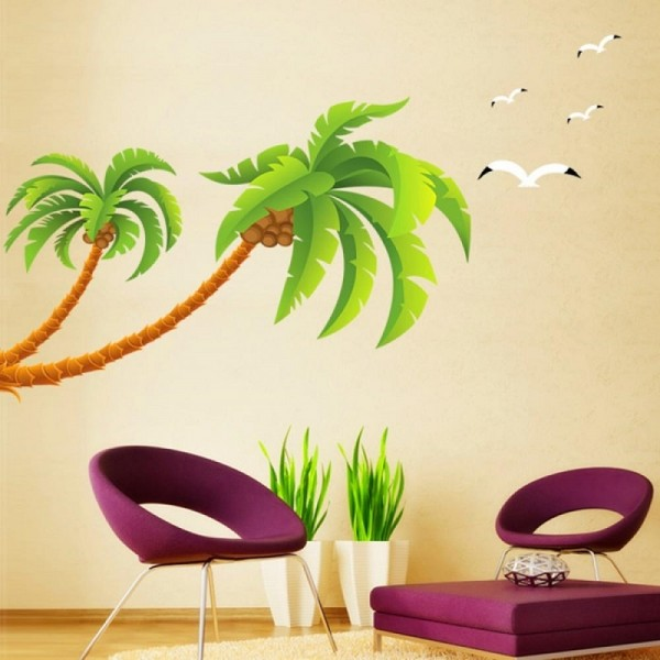 Large Palm Coconut Trees With Seagull Birds Peel And Stick Wall Decal