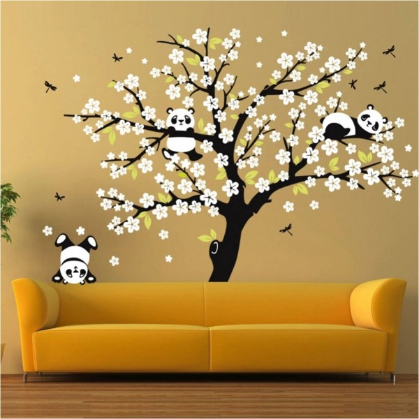 Large Peach Blossom Tree With Panda And Dragonfly Wall Decal