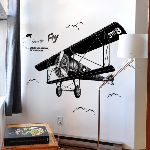 Large Vintage Airplane Wall Decal Biplane Wall Sticker Airplane Clouds Wall Art Decor Nursery Vinyl Wall Graphic Boy Room Wall Mural Decoration
