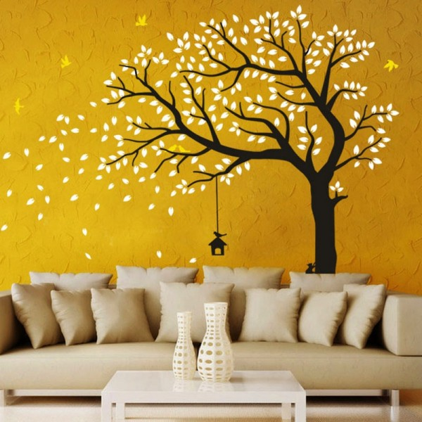 Large Windy Tree Wall Decal With Birds And Birdhouse Wall Mural Removable Sticker For Living Room Kids Bedroom Baby Nursery Art Decor