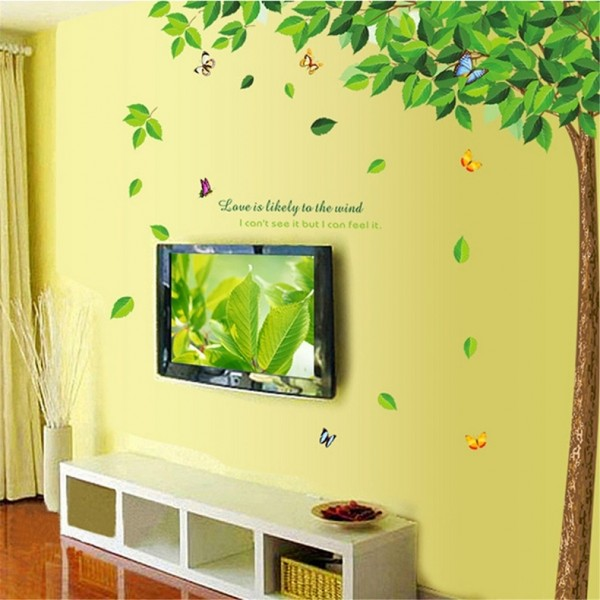 Love Is Likely To The Wind Quote Green Tree With Falling Leaves And Butterflies Wall Vinyl Decal Sticker