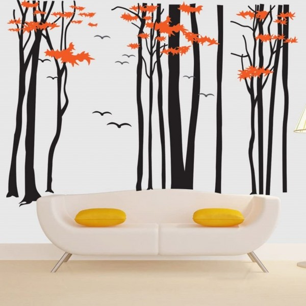 Maple Tree Forest With Birds Giant Wall Sticker Decals