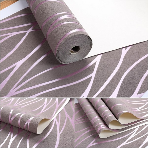 Modern 3D Embossed Striped Suede Textured Geometric Wallpaper Non Woven Wallcovering For Bedroom Living Room TV Background Decor