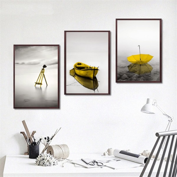 Modern Decorative Painting Calm Lake Scenes Yellow Easel Boat Umbrella Wall Art Poster Canvas Print Unframed