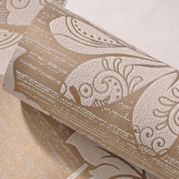 Modern Embossed 3D Floral Flocked Wallpaper Non-Woven Wallcovering - Coffee