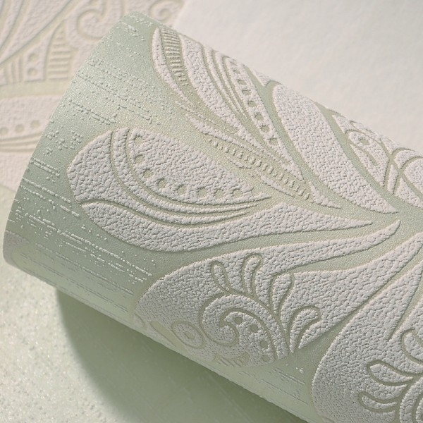 Modern Embossed 3D Floral Flocked Wallpaper Non-Woven Wallcovering - Green