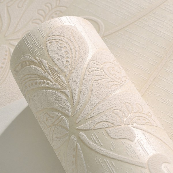 Modern Embossed 3D Floral Flocked Wallpaper Non-Woven Wallcovering - Ivory