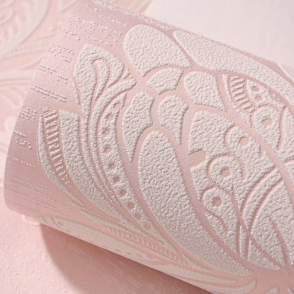 Modern Embossed 3D Floral Flocked Wallpaper Non-Woven Wallcovering - Pink
