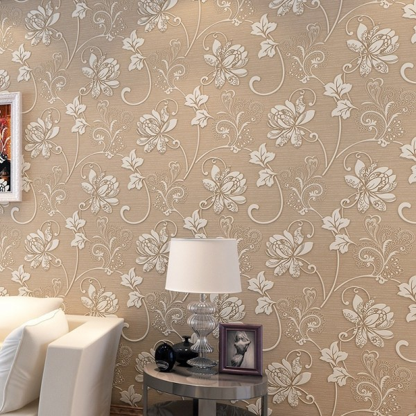 Modern Embossed 3D Floral Flocked Wallpaper Non-Woven Wallcovering, Coffee
