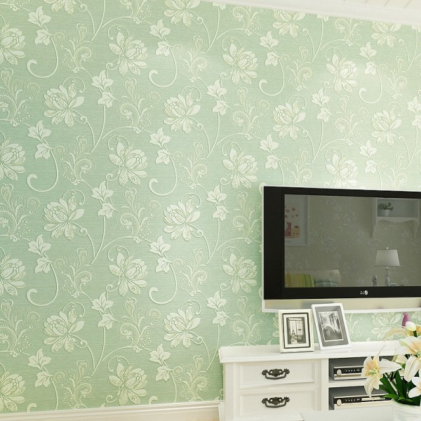 Modern Embossed 3D Floral Flocked Wallpaper Non-Woven Wallcovering, Green