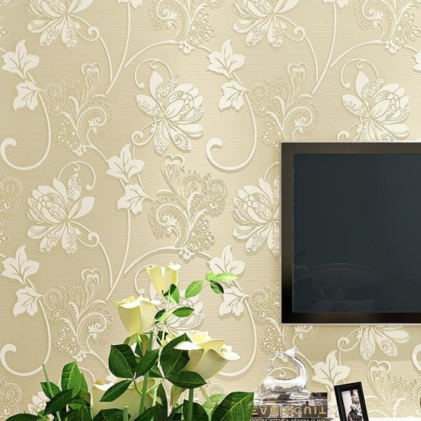Modern Embossed 3D Floral Flocked Wallpaper Non-Woven Wallcovering, Ivory