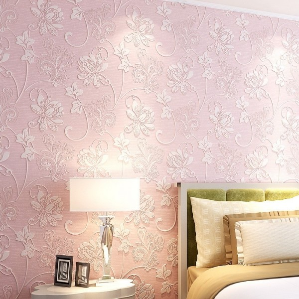 Modern Embossed 3D Floral Flocked Wallpaper Non-Woven Wallcovering, Pink