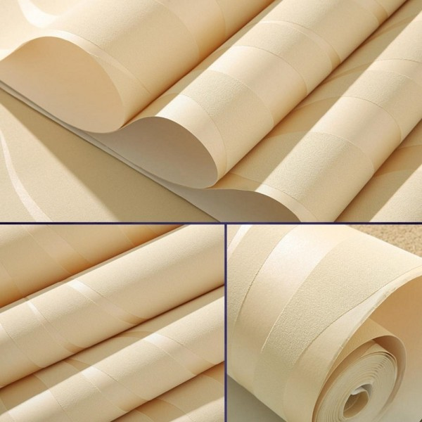 Modern Non-Woven Embossed 3D Wave Flocking Wallpaper Rolls For living room bedroom TV background Wall Covering, Beige