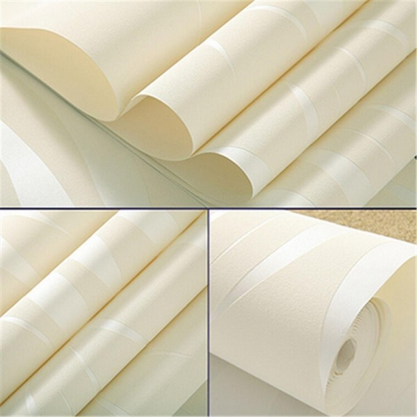 Modern Non-Woven Embossed 3D Wave Flocking Wallpaper Rolls For living room bedroom TV background Wall Covering, Creamy White