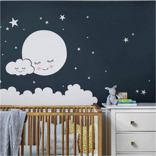 Moon Clouds And Stars Nursery Wall Decals