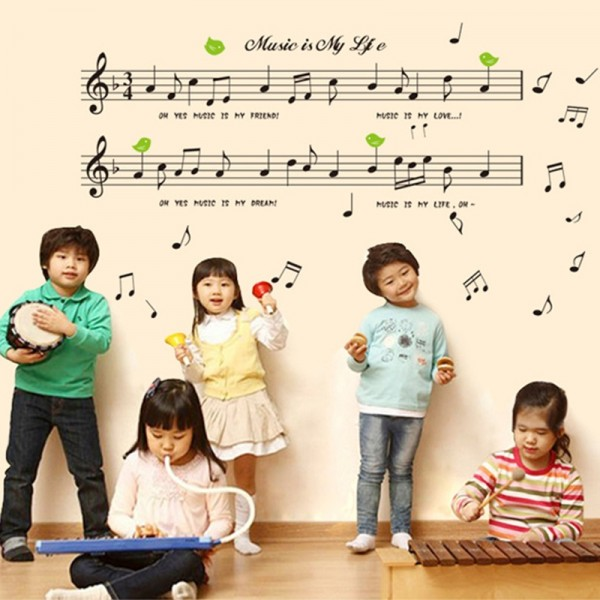 Music Sticker Music Is My Life Musical Notes Vinyl Wall Art Decals Living Room Bedroom Classroom Decor