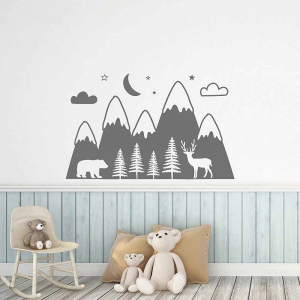 Nursery Wall Decal Mountains Woodland With Forest, Bear And Deer Wall Sticker Art For Kids Room Baby Bedroom Nursery Decor