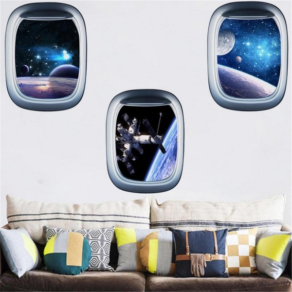 Outer Space Window View Space Capsule Porthole 3D Wall Sticker