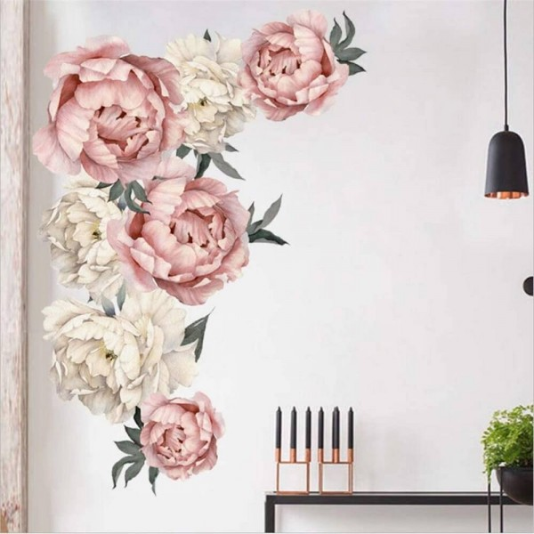 Peony Flowers Peel And Stick Wall Decals Peony Rose Flower Wall Stickers Removable Floral Vinyl Wall Art For Girls Bedroom Living Room Nursery Decor