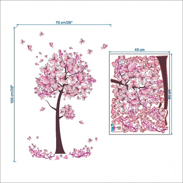 Pink Butterfly Tree Wall Decals Vinyl Wall Art Mural Stickers For Kids Room Baby Nursery Girls Bedroom Decor