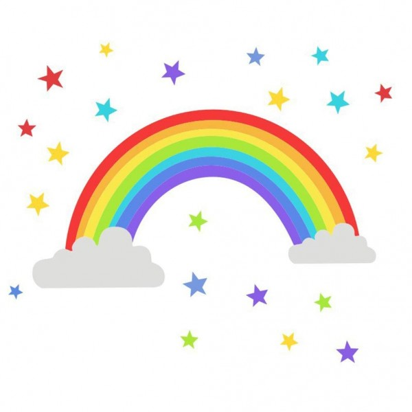 Rainbow Wall Sticker With Clouds And Stars Peel And Stick Wall Decal Removable Vinyl Wall Art For Kids Room Girls Bedroom Nursery Decor