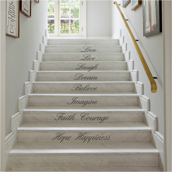 Stair Riser Decals Stairway Decals Love Live Laugh Vinyl Wall Lettering Quotes Stickers For Staircase Decor