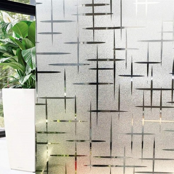 Static Cling Decorative Film 3D Cross Pattern Window Film Frosted Privacy Glass Film