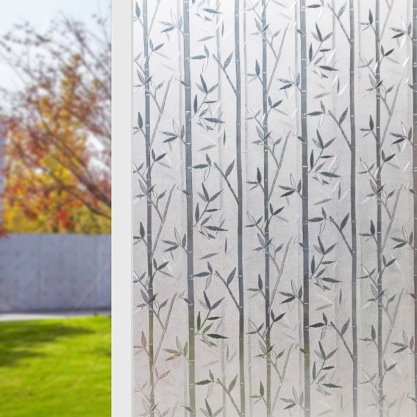 Static Cling Decorative Privacy Window Film Bamboo Pattern Frosted Glass Door Film