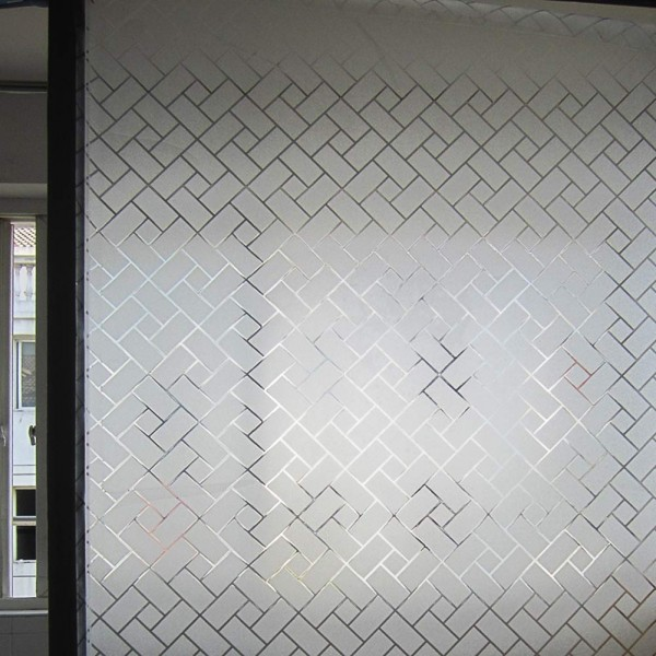 Static Cling Non-Adhesive Frosted Lattice Privacy Window Film Decorative Glass Film