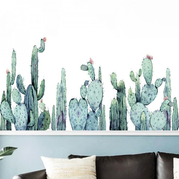 Succulent Cactus Wall Decal Removable Green Plant Wall Art Stickers For Living Room Kids Bedroom Nursery Decor