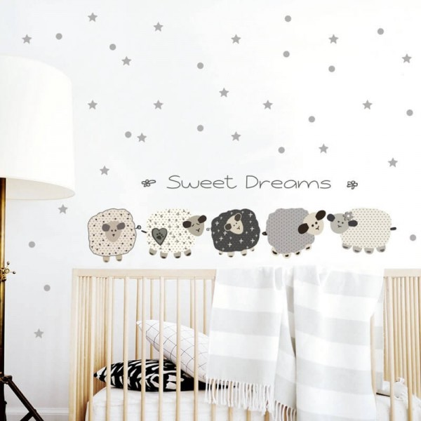 Sweet Dreams Counting Sheep Wall Decals With Dots And Stars Nursery Wall art For Kids Baby Boy Girl Room Decor
