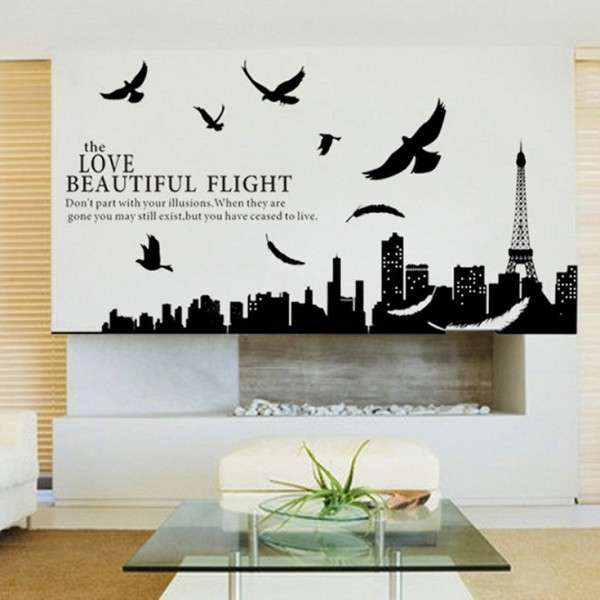 The Love Beautiful Flight Quote Flying Birds Paris City Skyline Silhouette Vinyl Wall Decal Art Decor Sticker