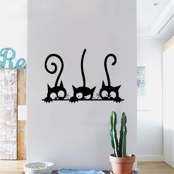 Three Black Cat Vinyl Sticker Wall Art Decor Decal