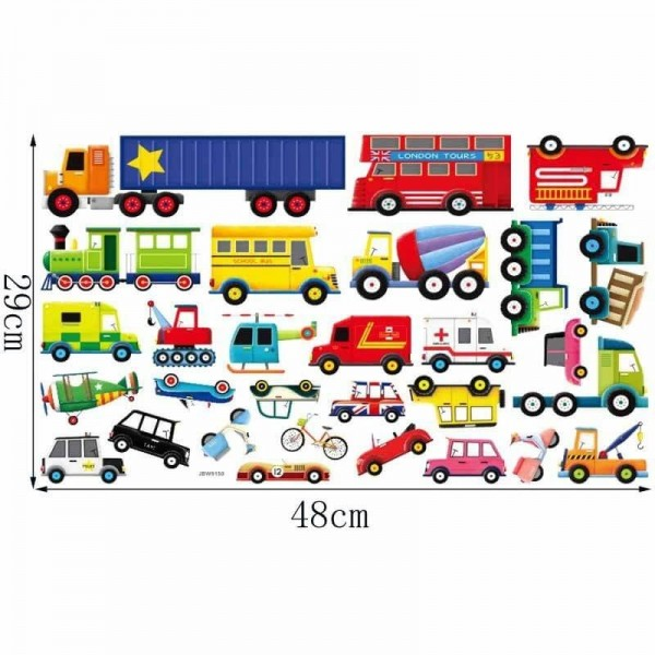 Transportation Peel And Stick Wall Decals Vehicles Wall Stickers DIY For Baby Boy's Room Kids Bedroom Nursery Decor
