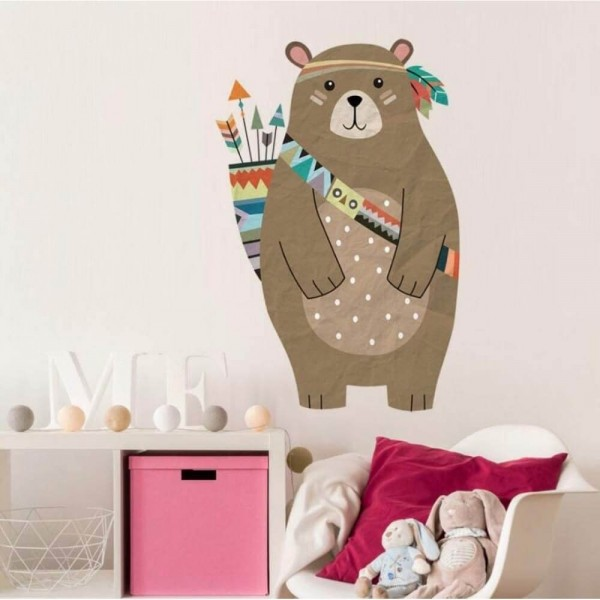 Tribal Woodland Bear Peel And Stick Wall Decal