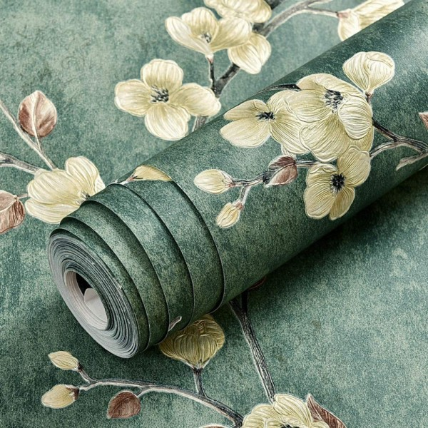 Vintage Embossed Floral Peel And Stick Wallpaper Country Cottage Style Non-Woven Self Adhesive Wallcovering