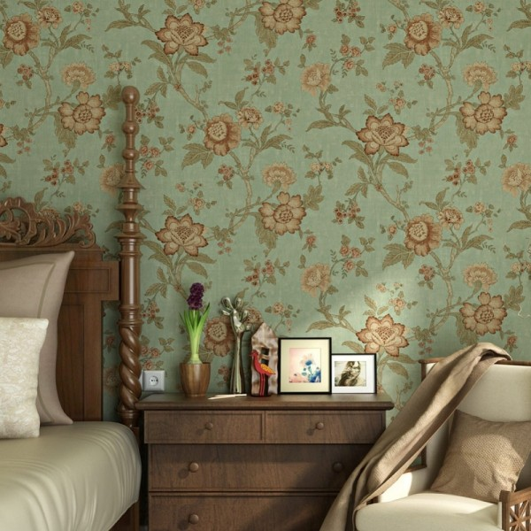Vintage Green Floral Wallpaper Wall Mural For Bedroom Living Room Kitchen Bathroom