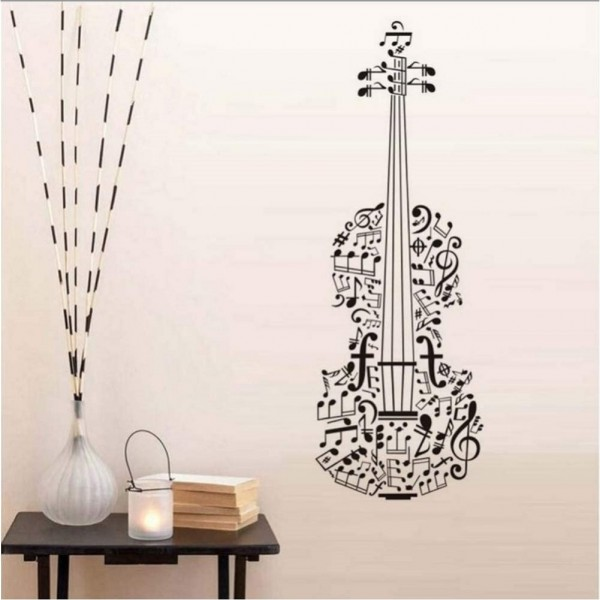 Violin Wall Decal Musical Notes Wall Art Vinyl Stickers Music Themed Room Decor