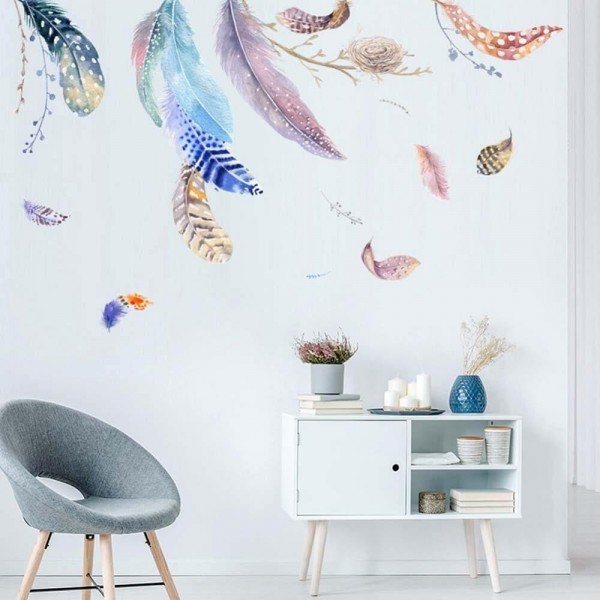 Watercolor Feather Wall Decals Removable Vinyl Wall Art Stickers For Home Decor