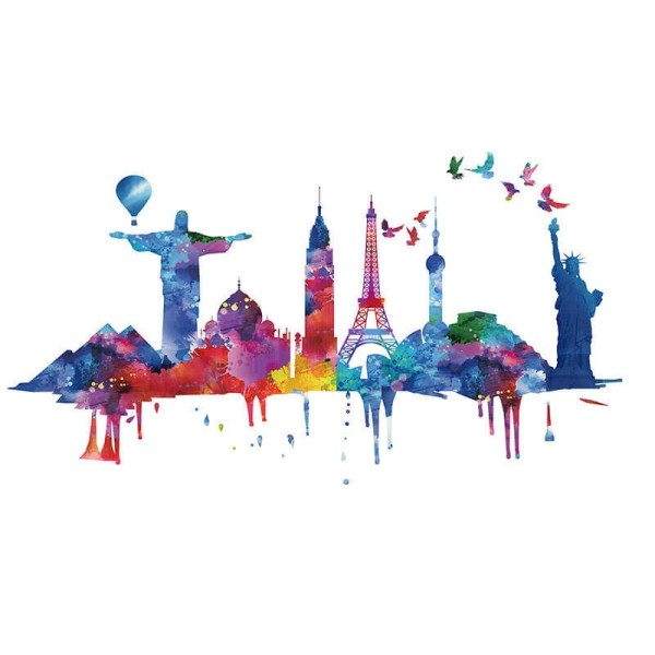 Watercolor World Famous Landmarks Peel And Stick Wall Decals Removable World Monuments Wall Art Stickers For Home Decor