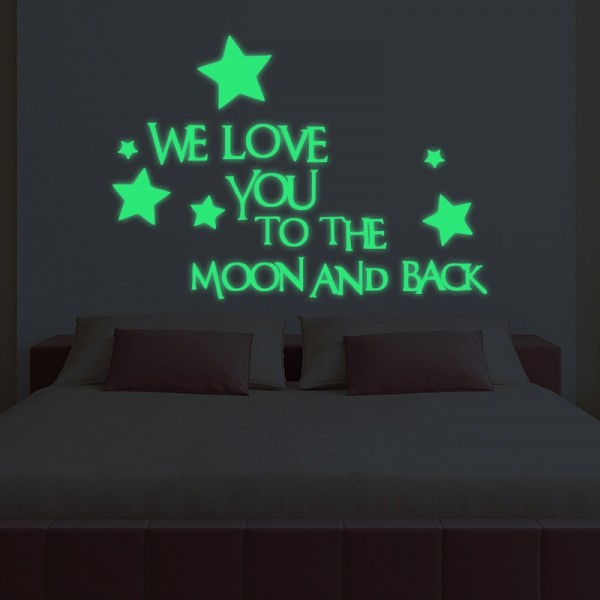 We Love You To The Moon And Back Stars Wall Sticker Glow In The Dark Luminous Sticker