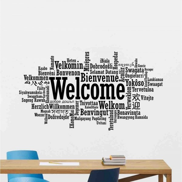 Welcome In Different Language Wall Decal Office Welcome Sign Vinyl Sticker Word Cloud Poster Wall Art Design For business Decor