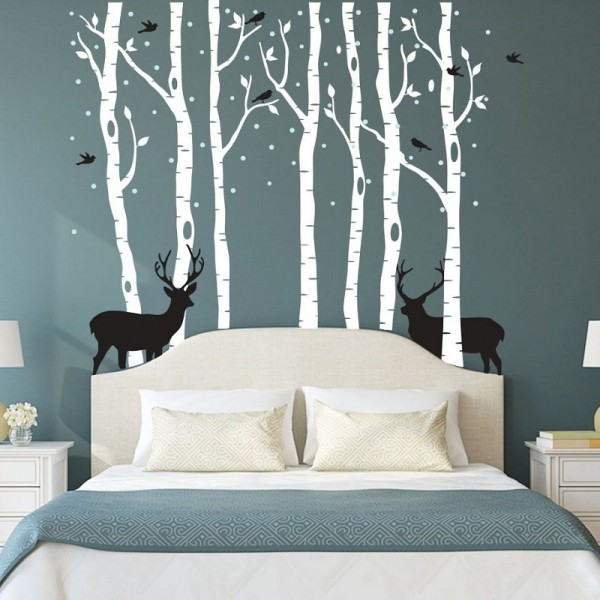 Winter Birch Tree Forest With Deer And Birds Vinyl Wall Decal Set, Black/White