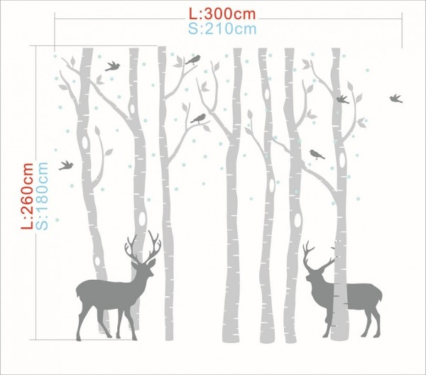 Winter Birch Tree Forest With Deer And Birds Vinyl Wall Decal Set