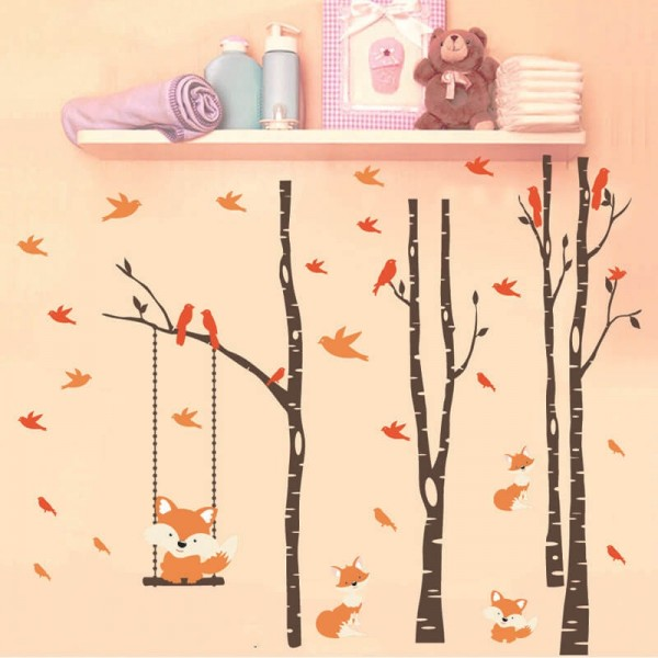 Woodland Animals Wall Decals Birch Trees Foxes Birds Wall Stickers Nursery Wall Art For Kids Baby Boy Girl Room Decor