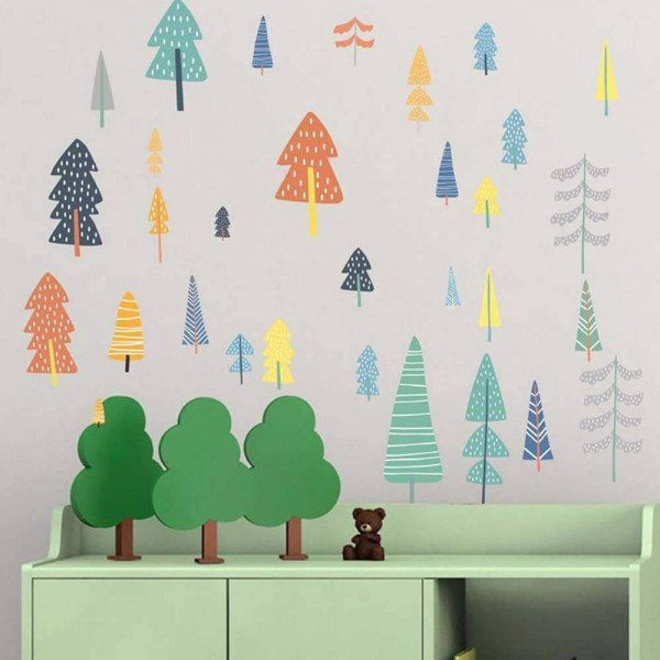 Woodland Forest Trees Nursery Wall Decals Removable Wall Stickers For Baby Kids Boy Girl Room Art Decor